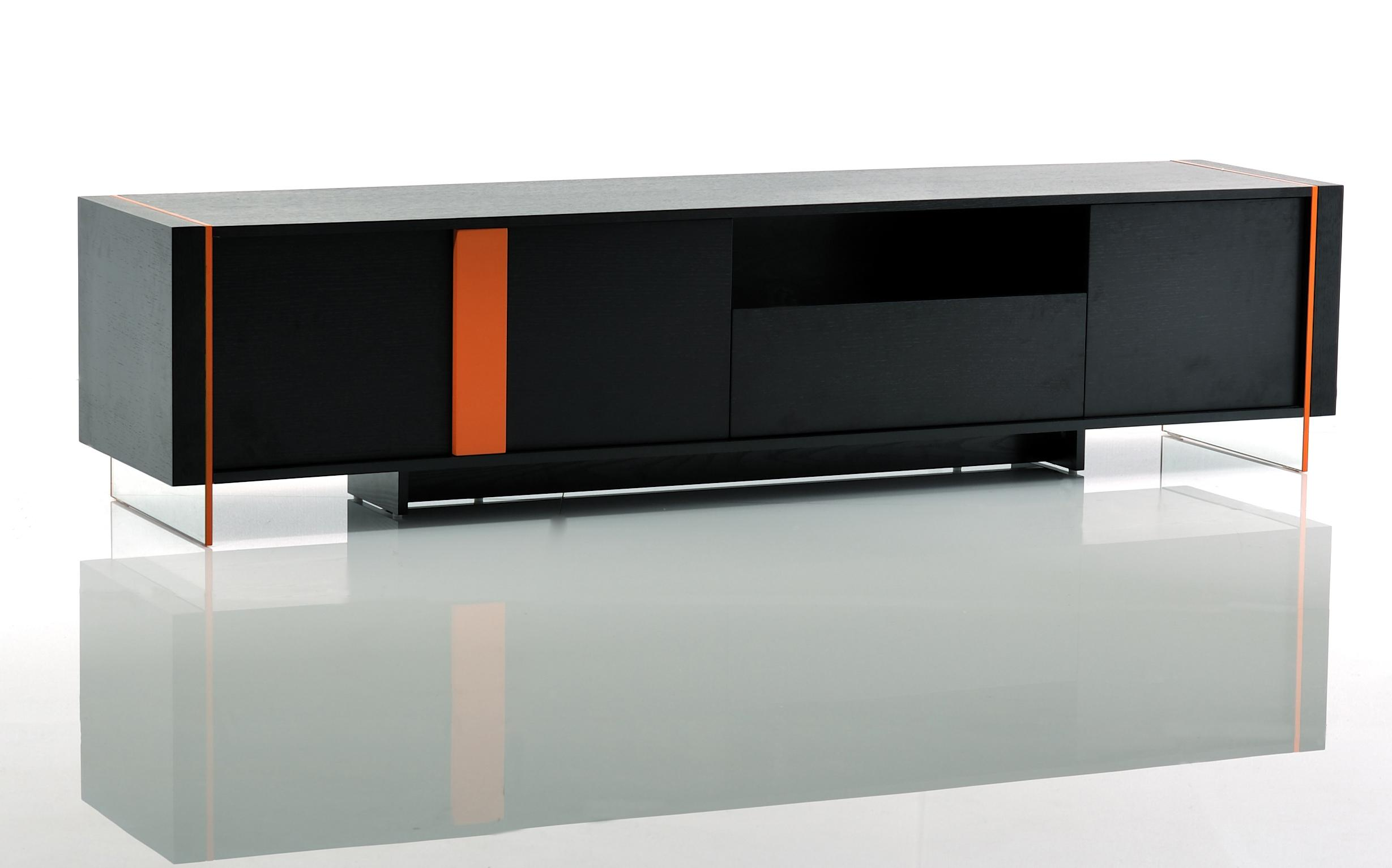 the best attitude 74508 8168e Contemporary Black Oak and Orange Floating TV Stand