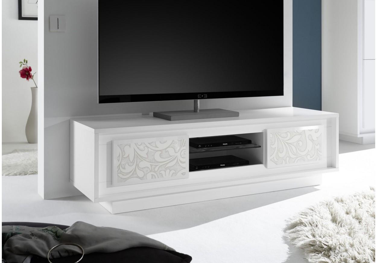 Modern White Tv Stand With Flower Design