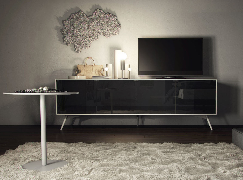 White Or Asphalt Tv Stand With Chrome Hardware Phoenix Arizona Mchri
