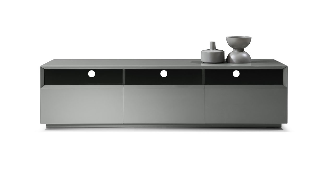 Grey High Gloss TV Stand Entertainment Unit With Storage