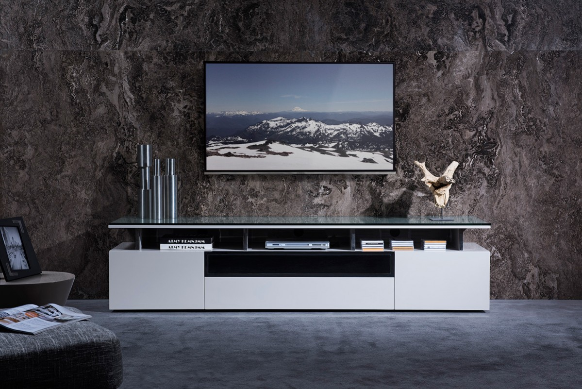 Grey Lacquer Living Room TV Stand with Glass Top - Click Image to Close