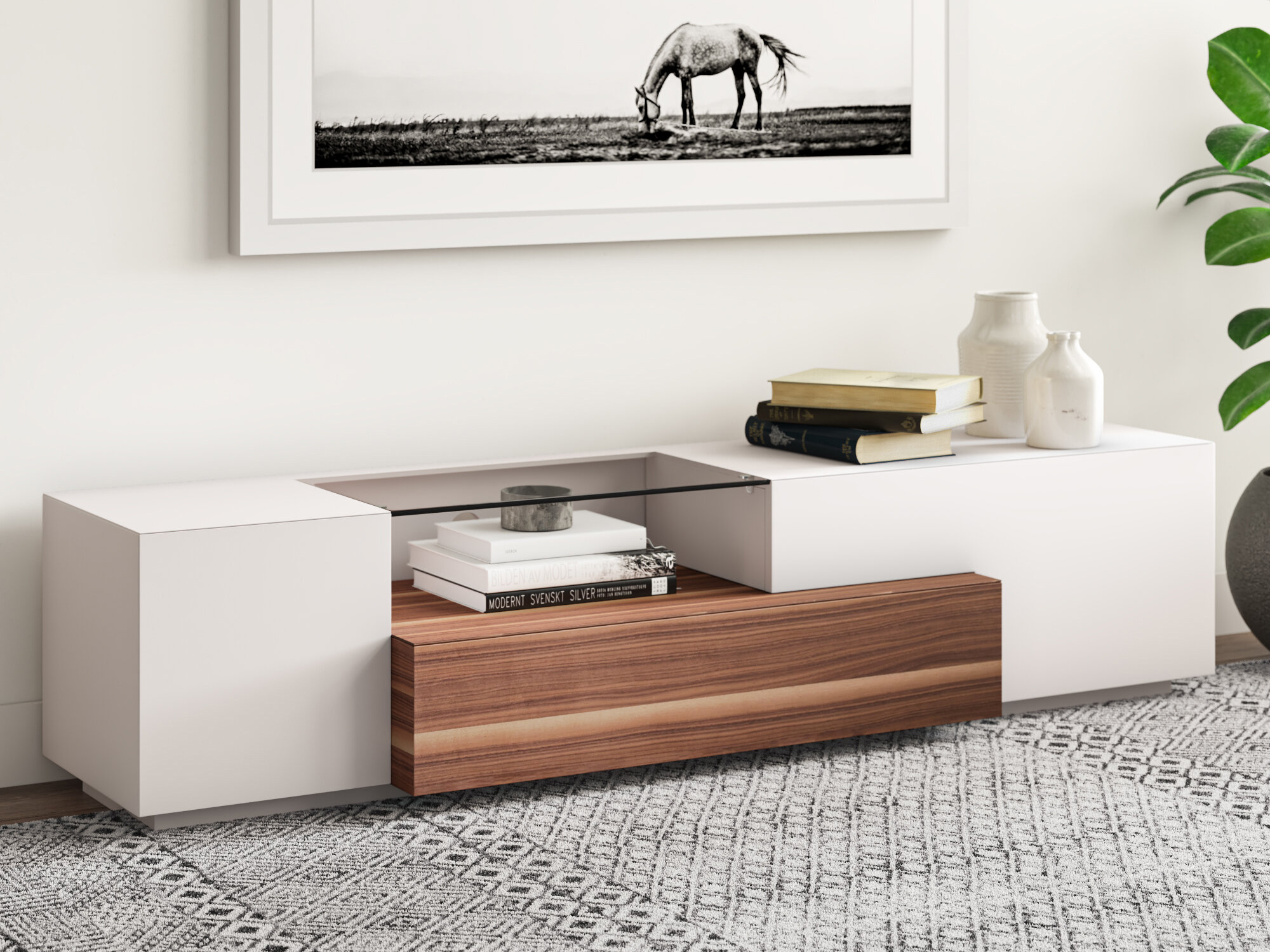 Contemporary Wooden TV Stand In White Lacquer And Walnut