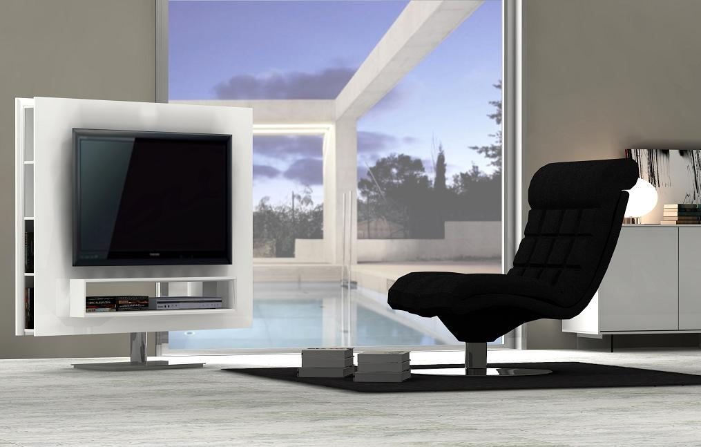 Ultra Contemporary White High Gloss Swivel TV