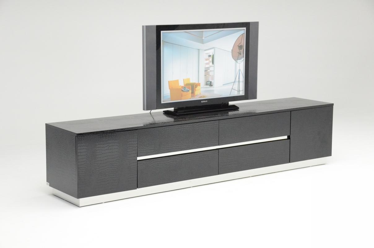 Black crocodile texture and lacquer tv unit detroit for Contemporary tv media units