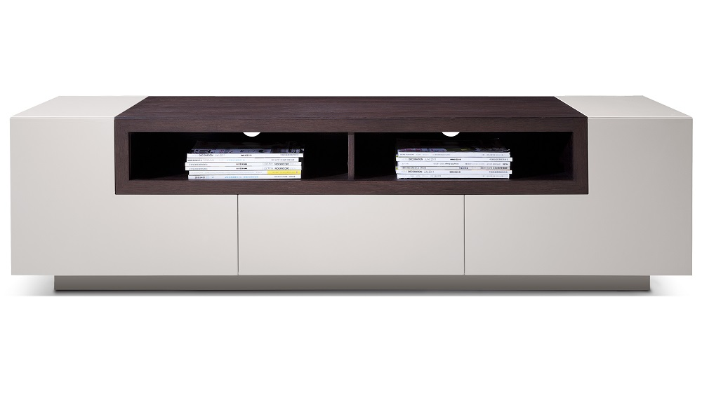 High gloss grey tv stand media console with dark oak Modern media console