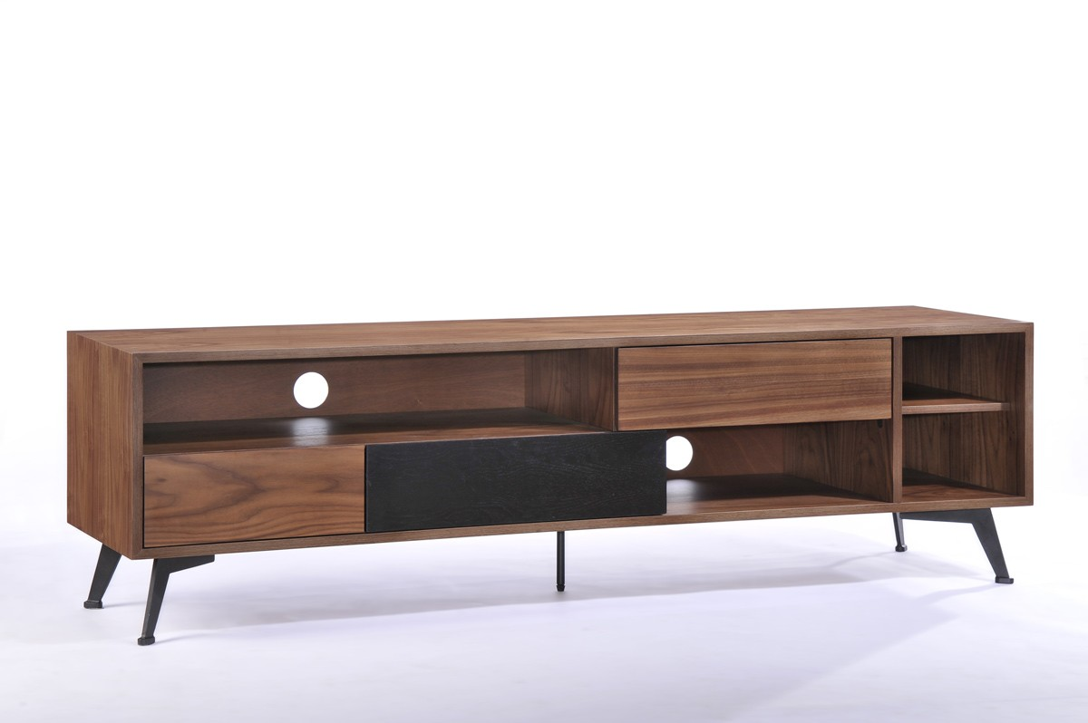 Walnut and black wood modern tv stand designs columbus ohio vig