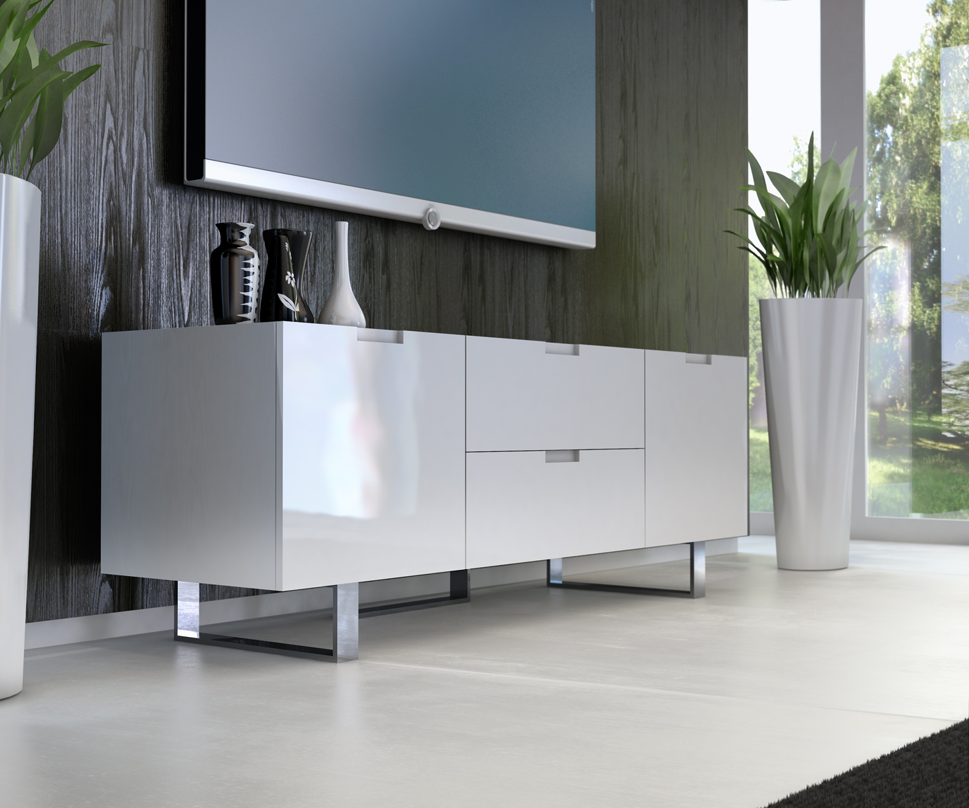 contemporary tv stand in wenge walnut or white lacquer san diego  - color