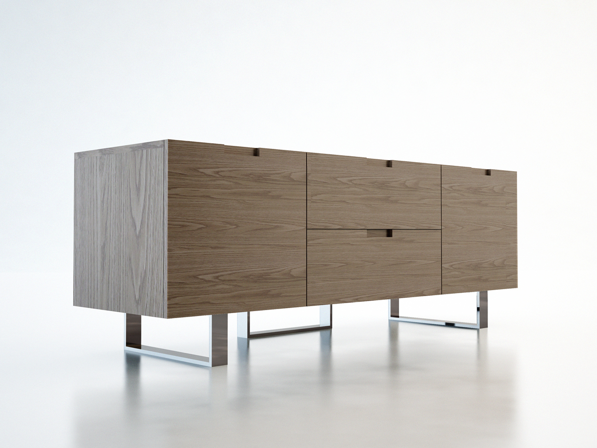 Contemporary Tv Stand In Wenge Walnut Or White Lacquer San Go California Mleld