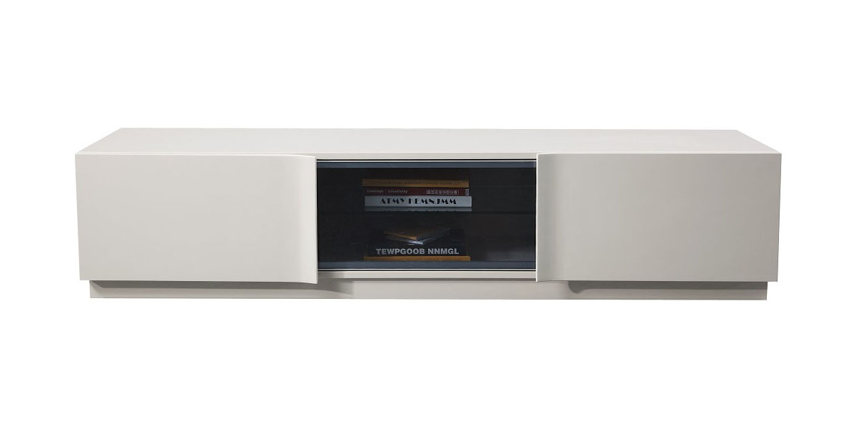 Contemporary Tv Stand In High Gloss Light Taupe Finish