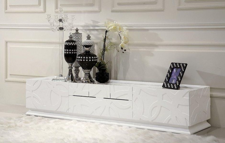 Elegant White Tv Stand With Four Drawers Worcester Massachusetts Variel