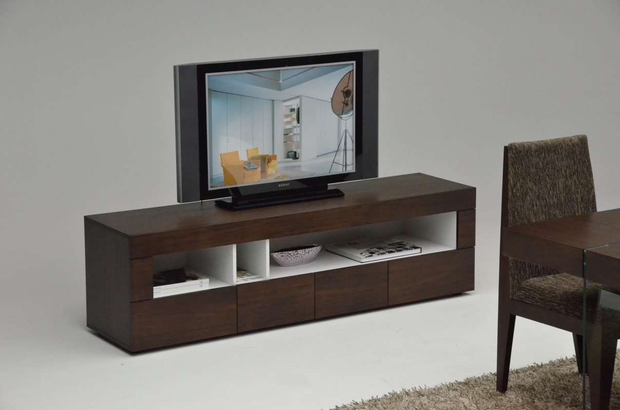 Tobacco Finish Contemporary Entertainment Tv Stand With Open Space  # Contemporary Tv Stands
