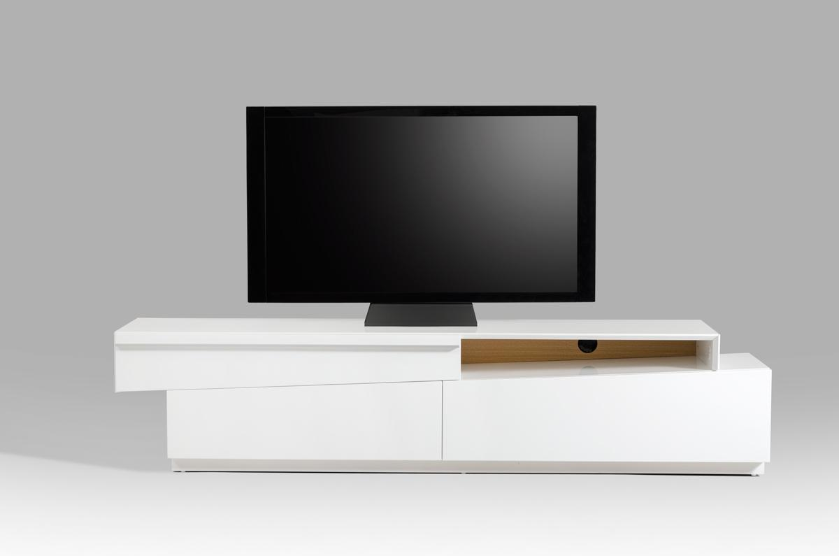 Contemporary slanted white high gloss tv stand with for White plasma tv stands