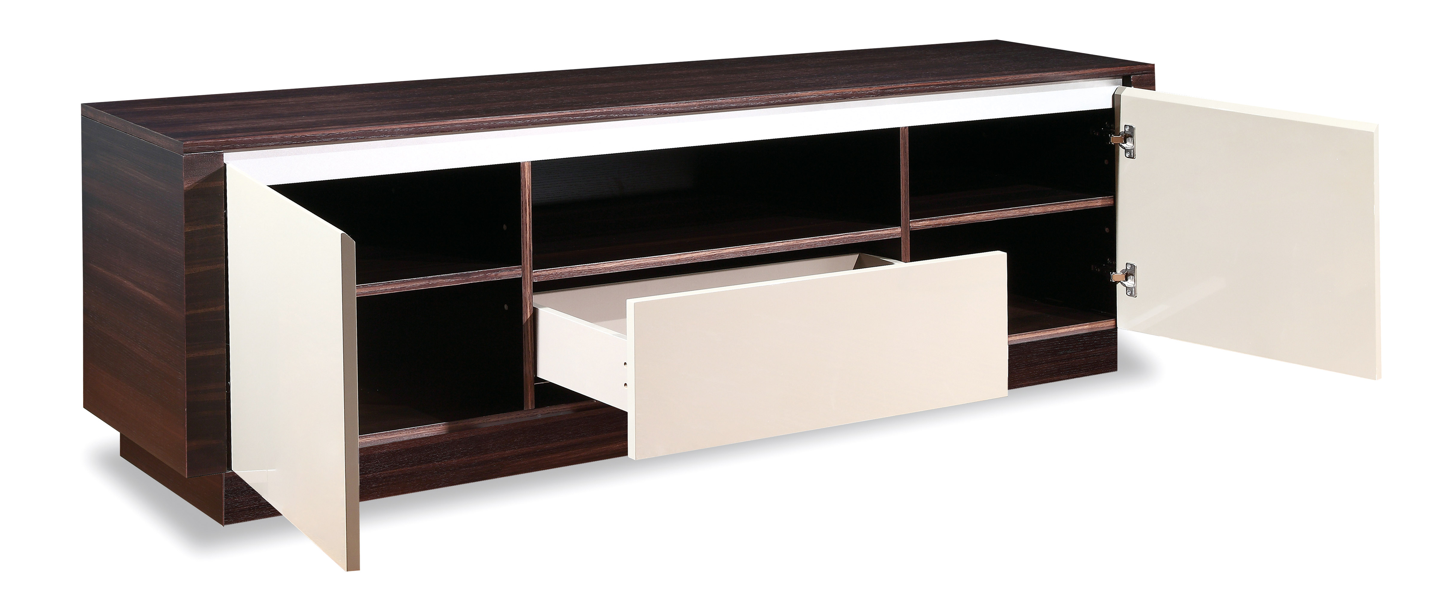 Contemporary Walnut Long Console with Storage Drawers - Click Image to Close