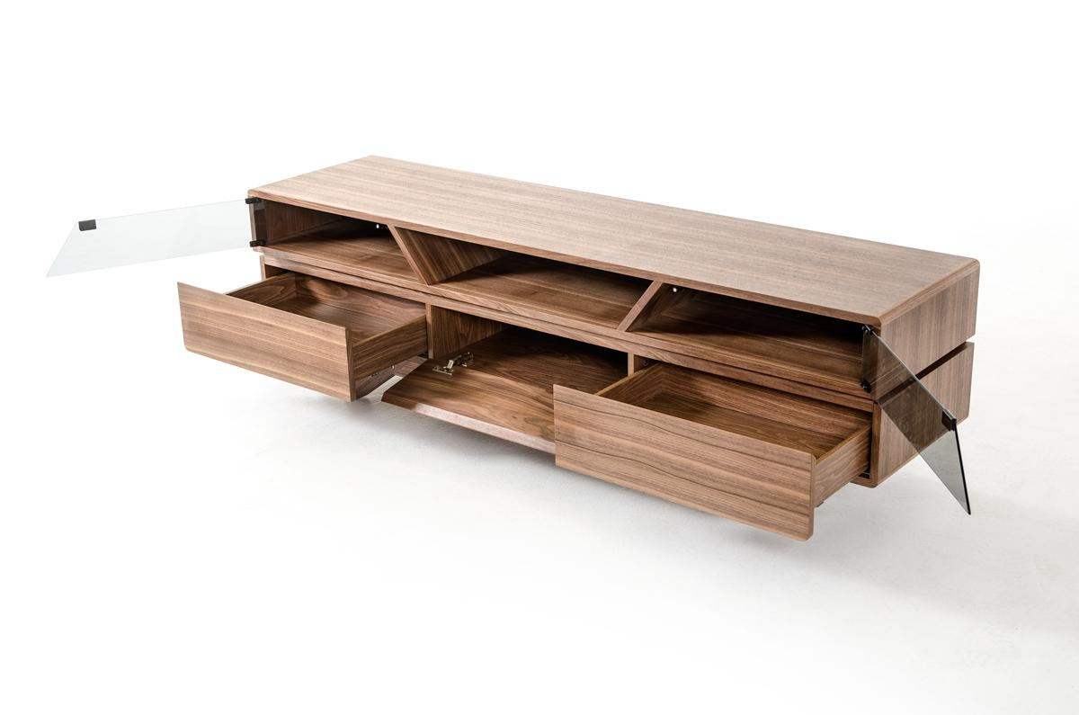 Contemporary Walnut TV Stand with Smoked Glass Doors - Click Image to Close