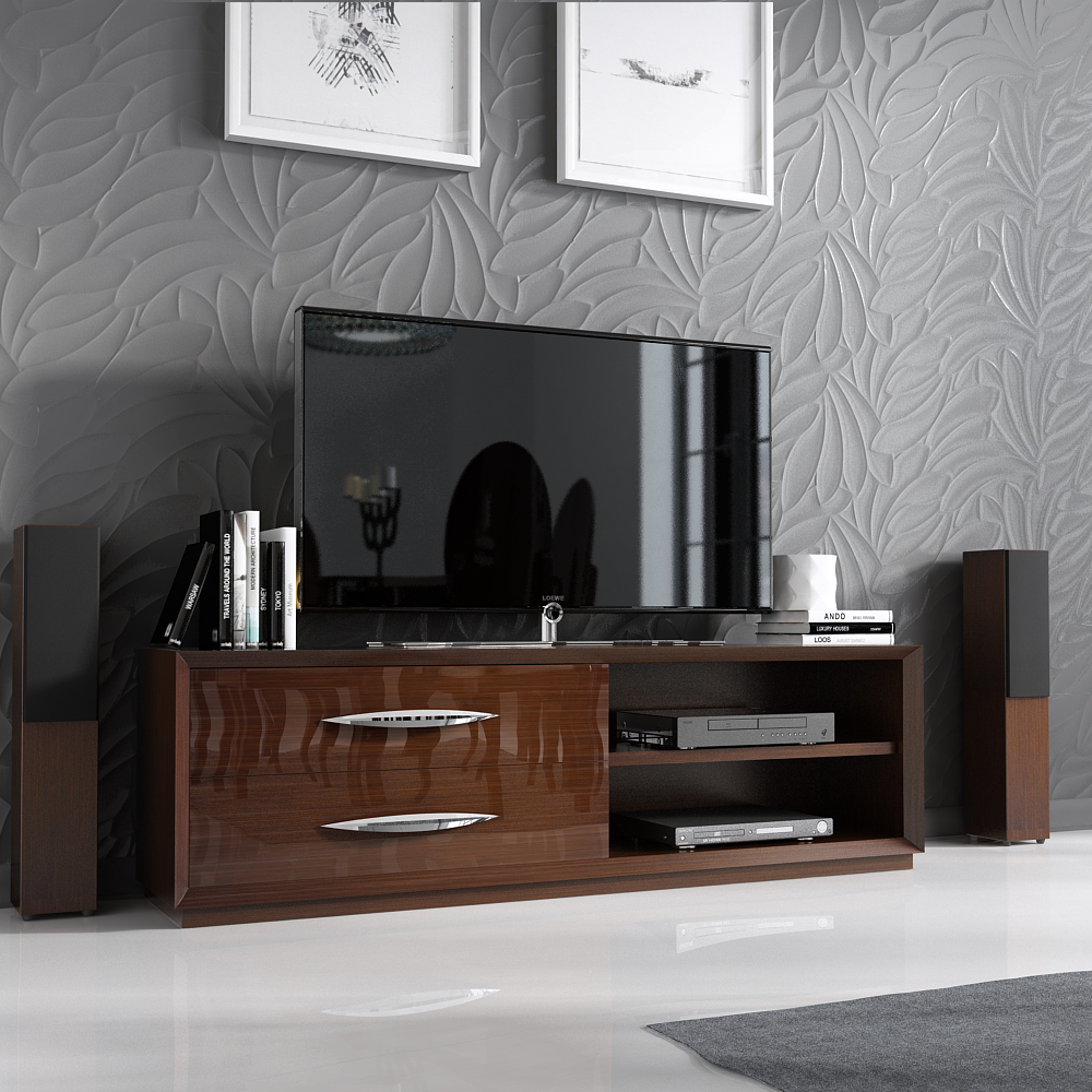 Spain Made Ultra Glossy Walnut Finished Tv Stand With Chrome Handles New York New York Esfcar