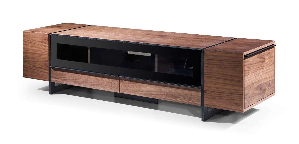 Walnut Wood Contemporary Tv Stand With Drawer And Side