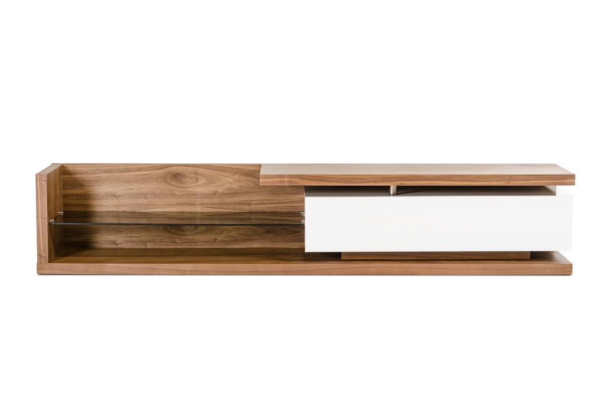 Low Profile Walnut TV Media Stand With Glass Shelf