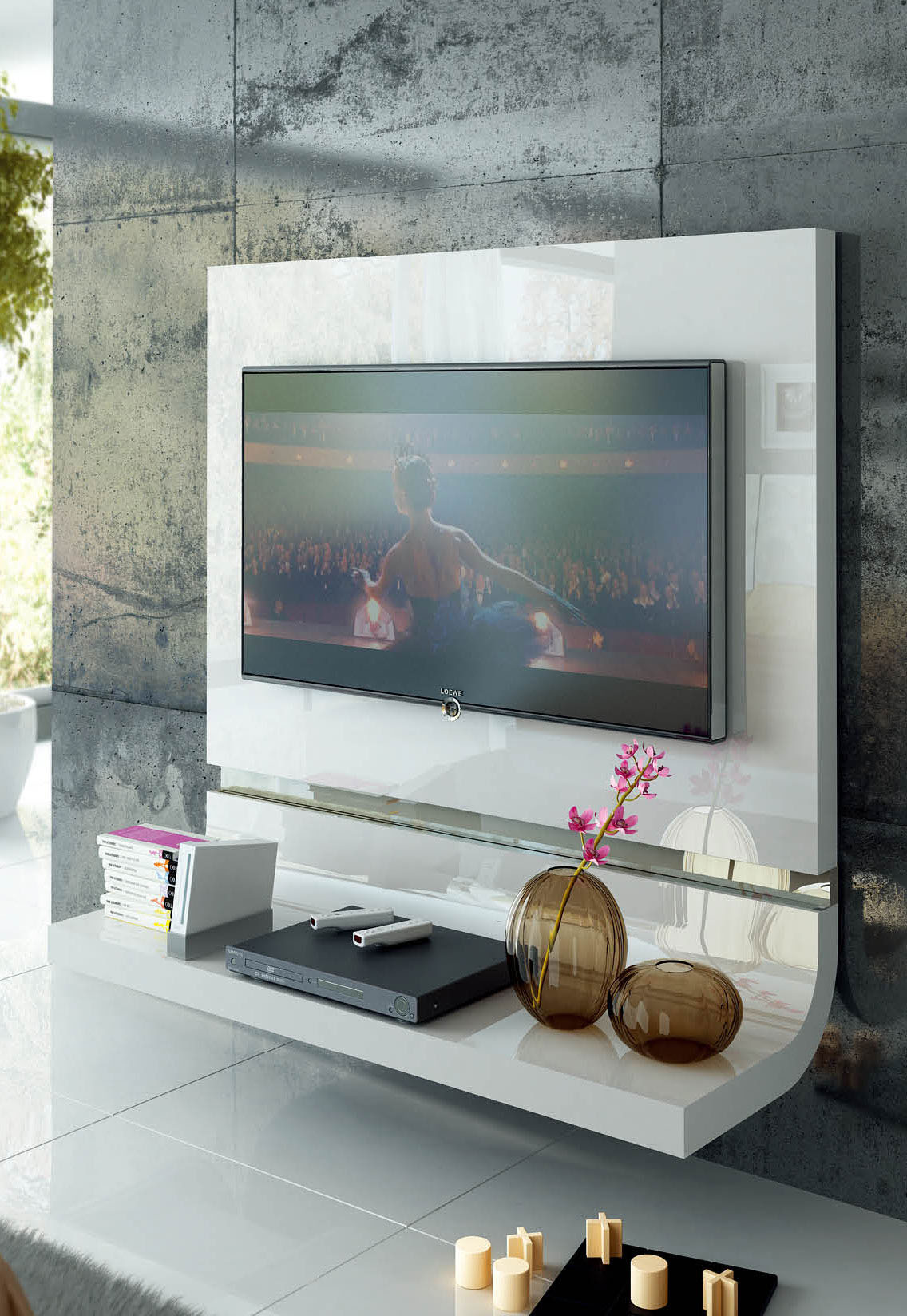 Spain Made White Lacquer Floating Wall Unit With Optional