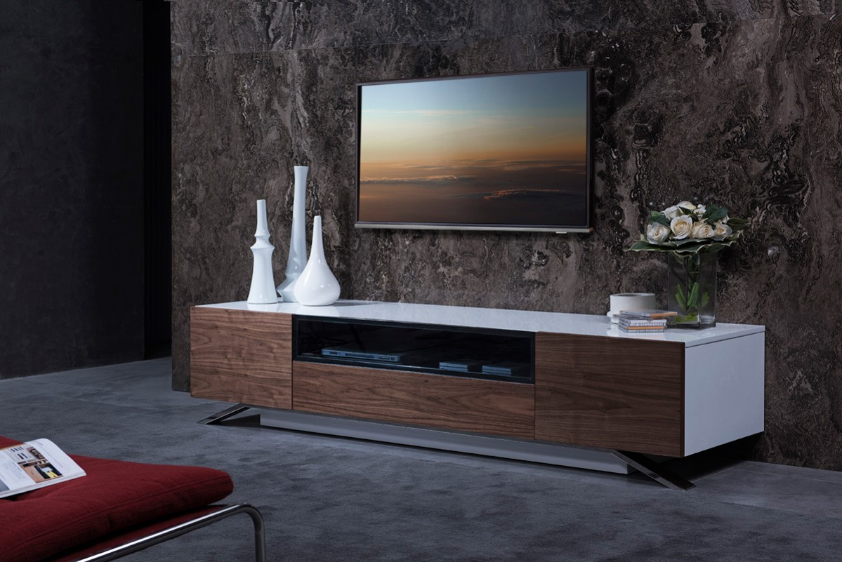 walnut and white gloss tv stand base for lcd los angeles california vig gillian. Black Bedroom Furniture Sets. Home Design Ideas