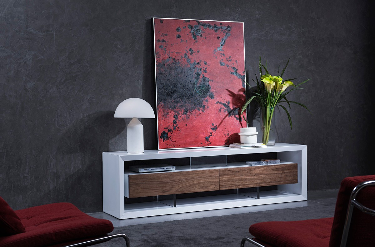 White Lacquer Modern Flat Screen Tv Stand With Drawers San