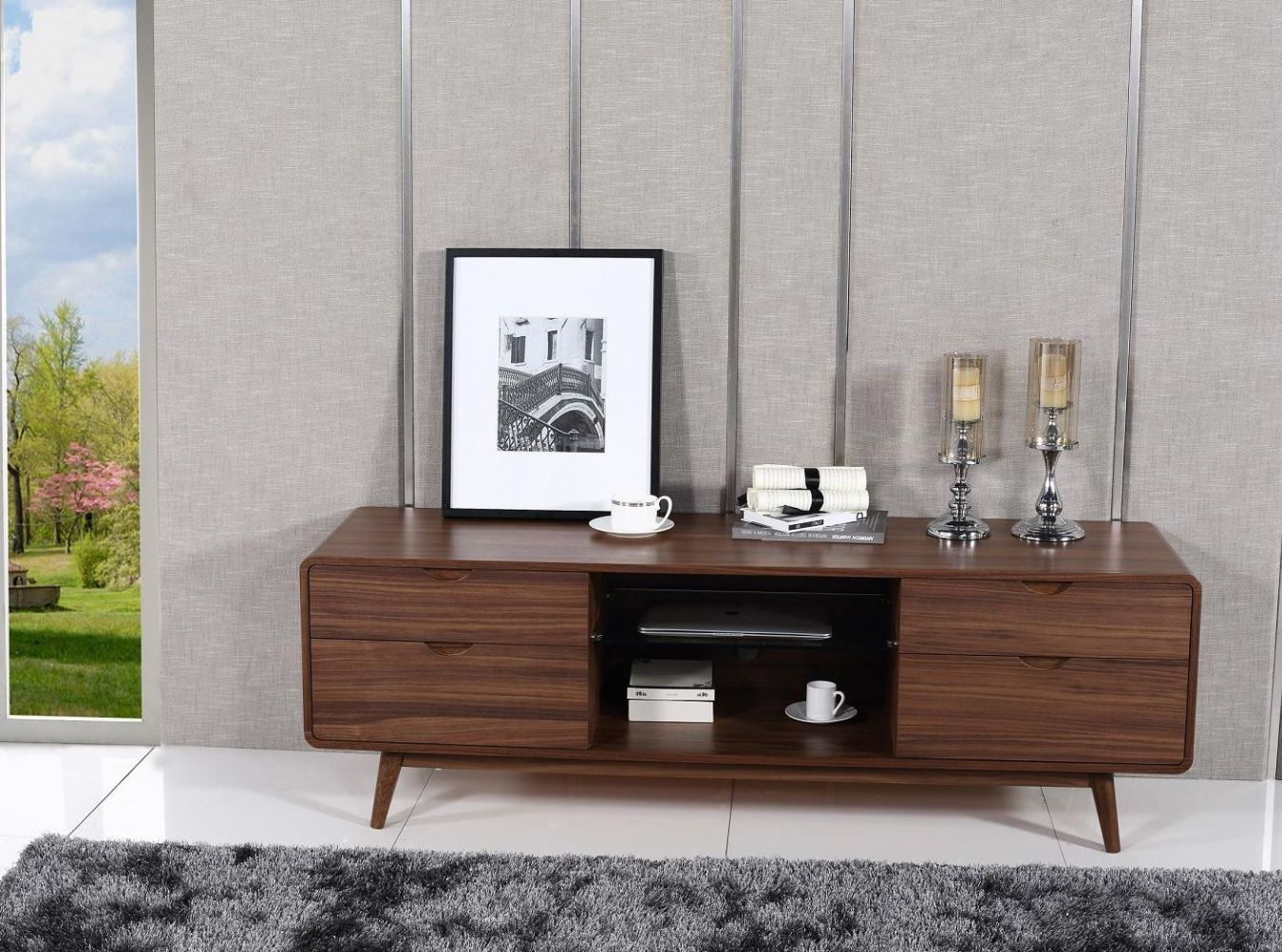 Mid Century Style Walnut Finished Four Drawer Tv Stand Los Angeles