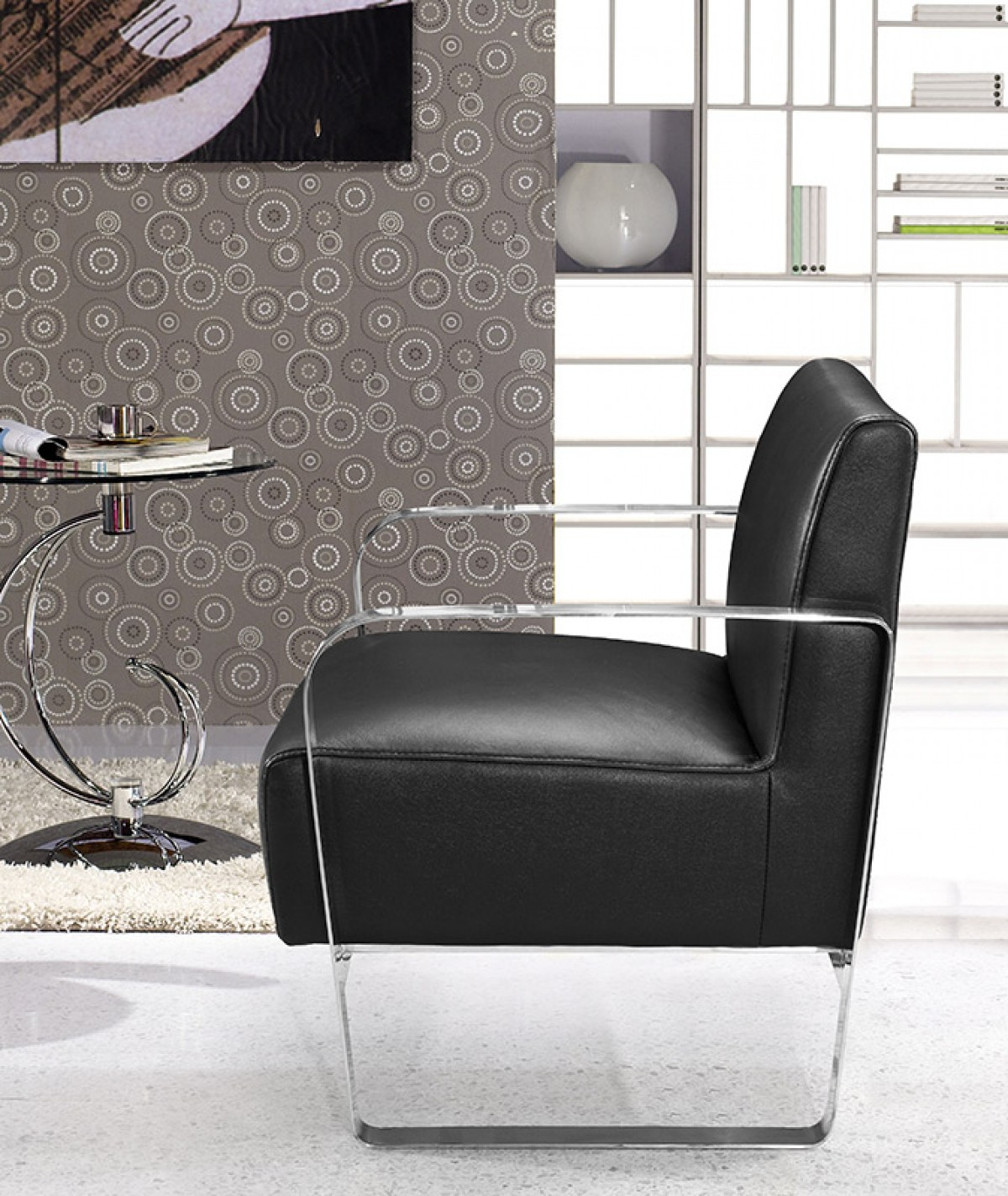 modern black genuine leather lounge chair fresno california vig