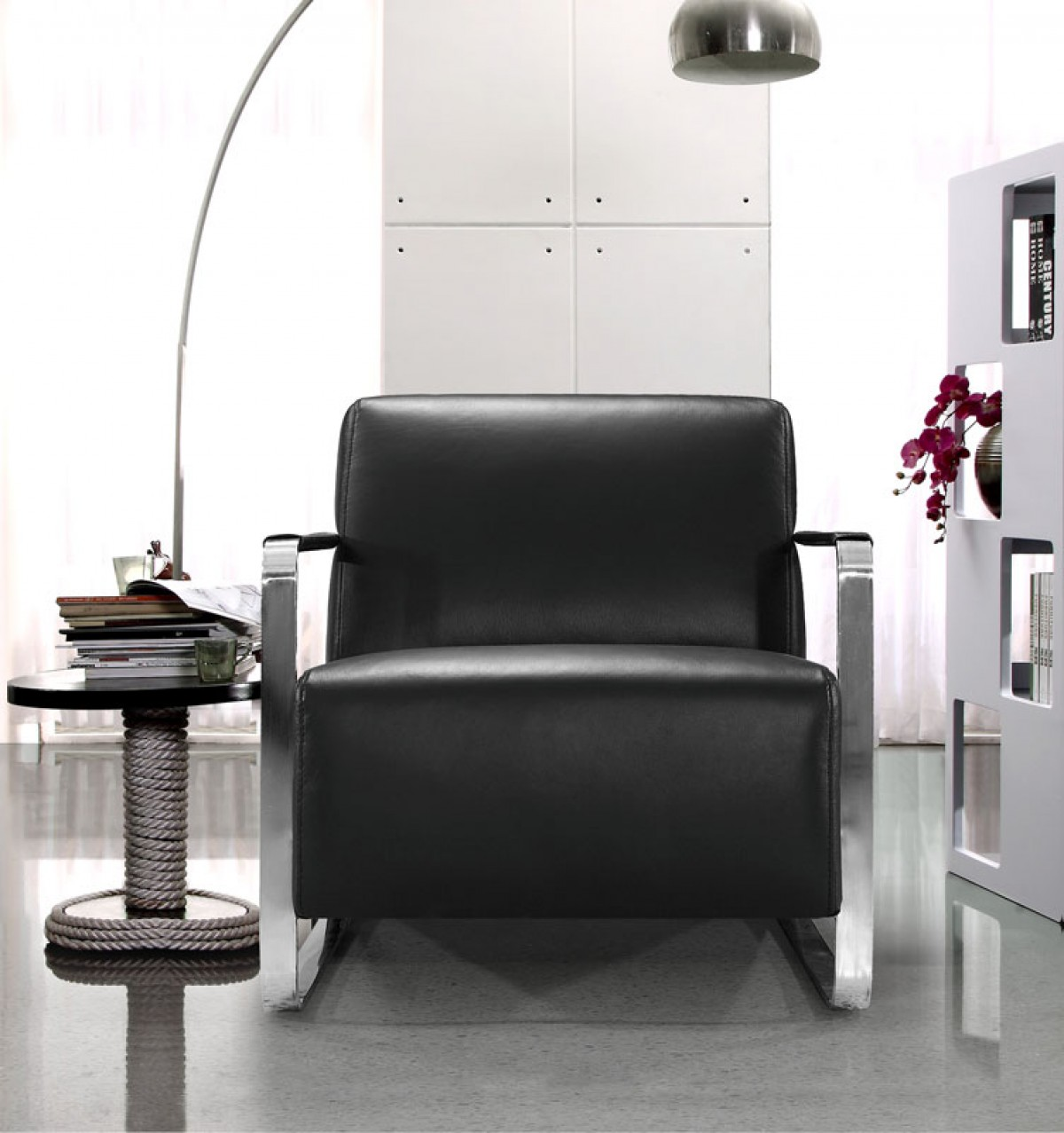 Modern Black Leather Low Profile Lounge Chair - Click Image to Close
