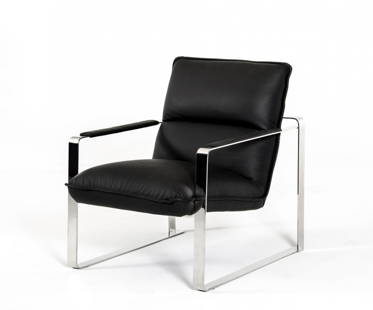 Modern Black Leather Lounge Chair With Steel Frame Las