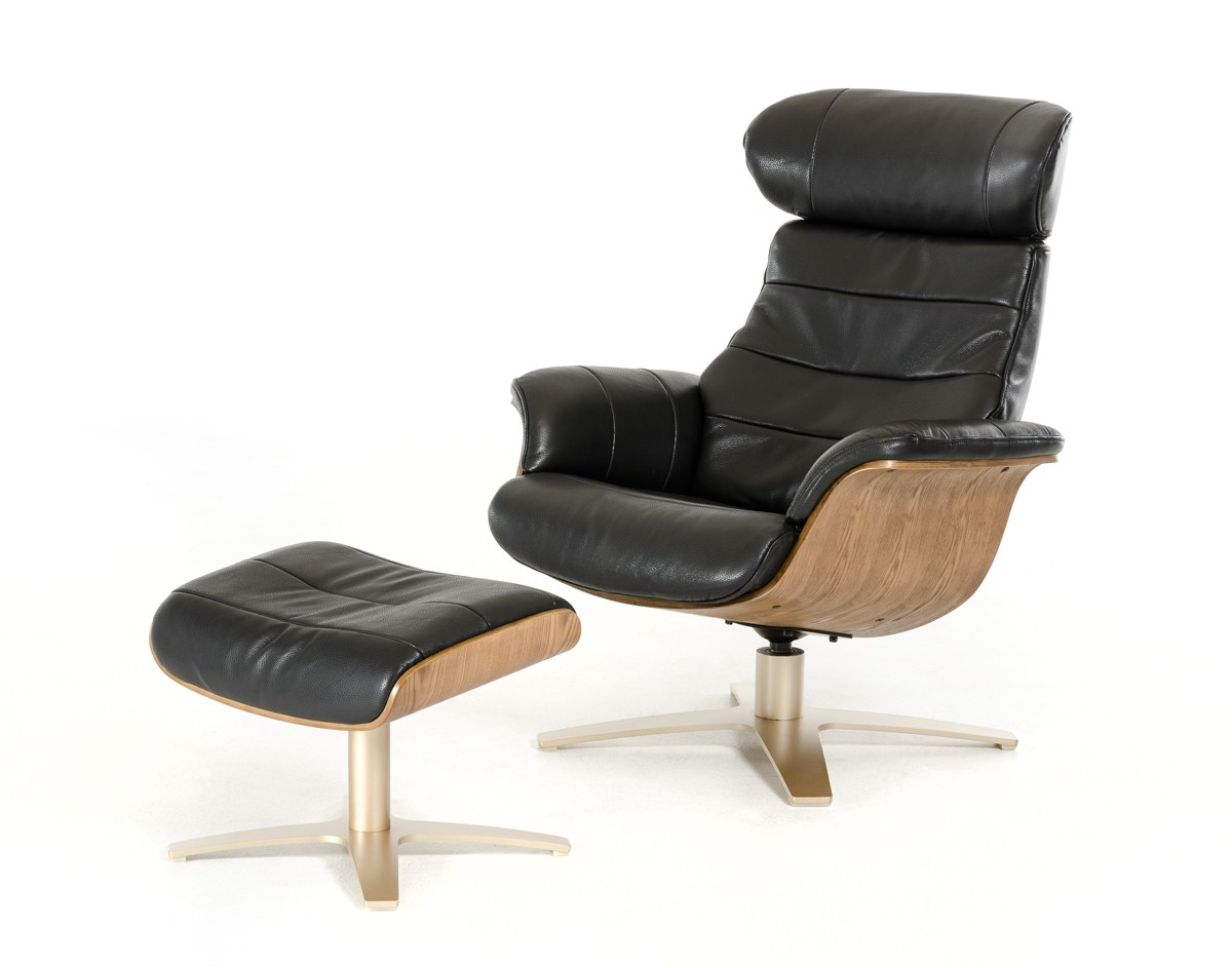 Beautiful Lounge Chaises And Daybeds, Stylish Accessories. Modern Black Leather Reclining  Chair With Ottoman