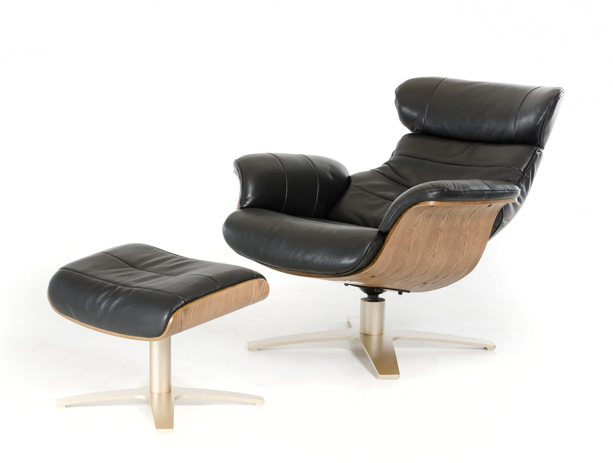 Modern Black Leather Reclining Chair With Ottoman New Orleans Louisiana  VIG Divani Casa Charles