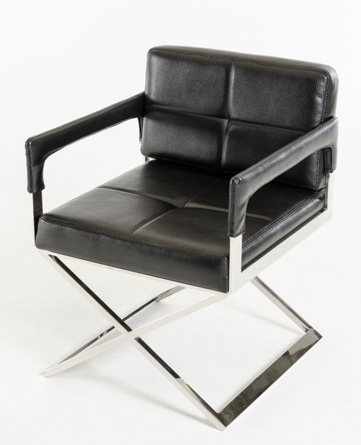Stainless steel frame black bonded leather chair los for Steel chair design