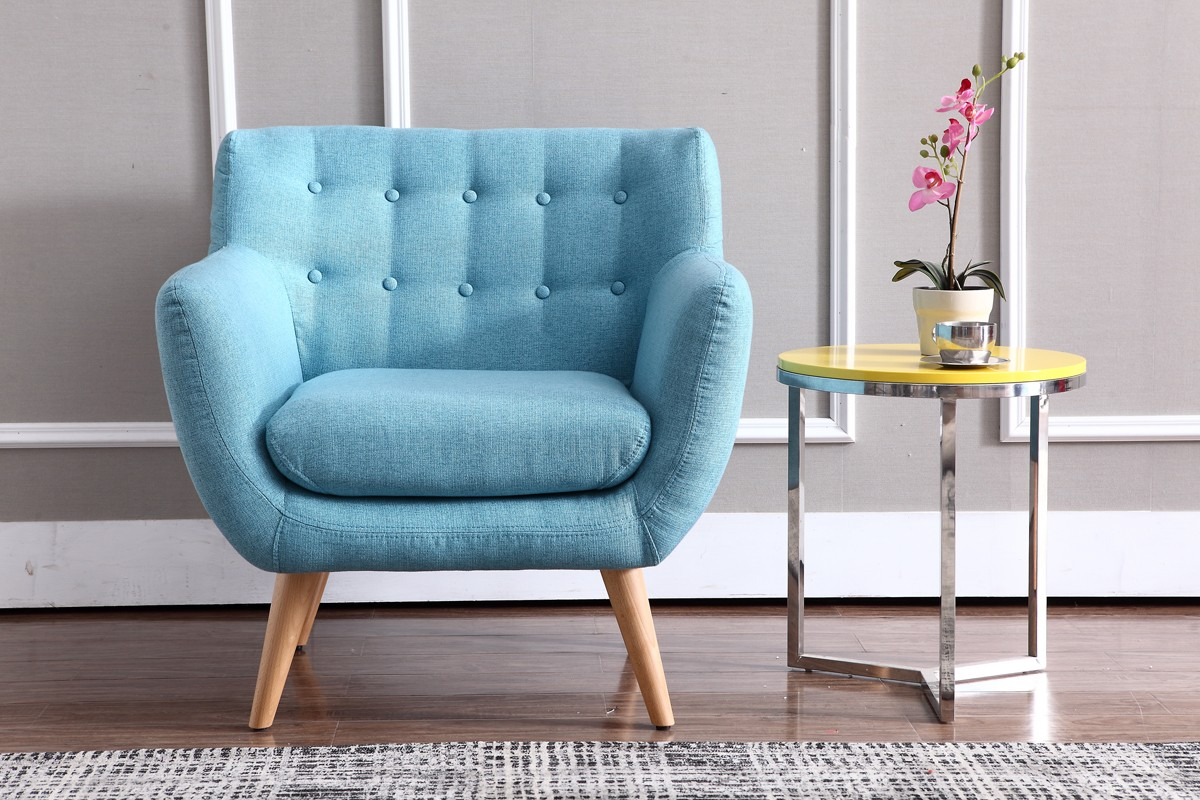 Beau Lounge Chaises And Daybeds, Stylish Accessories. Modern Turquoise Fabric  Accent Chair