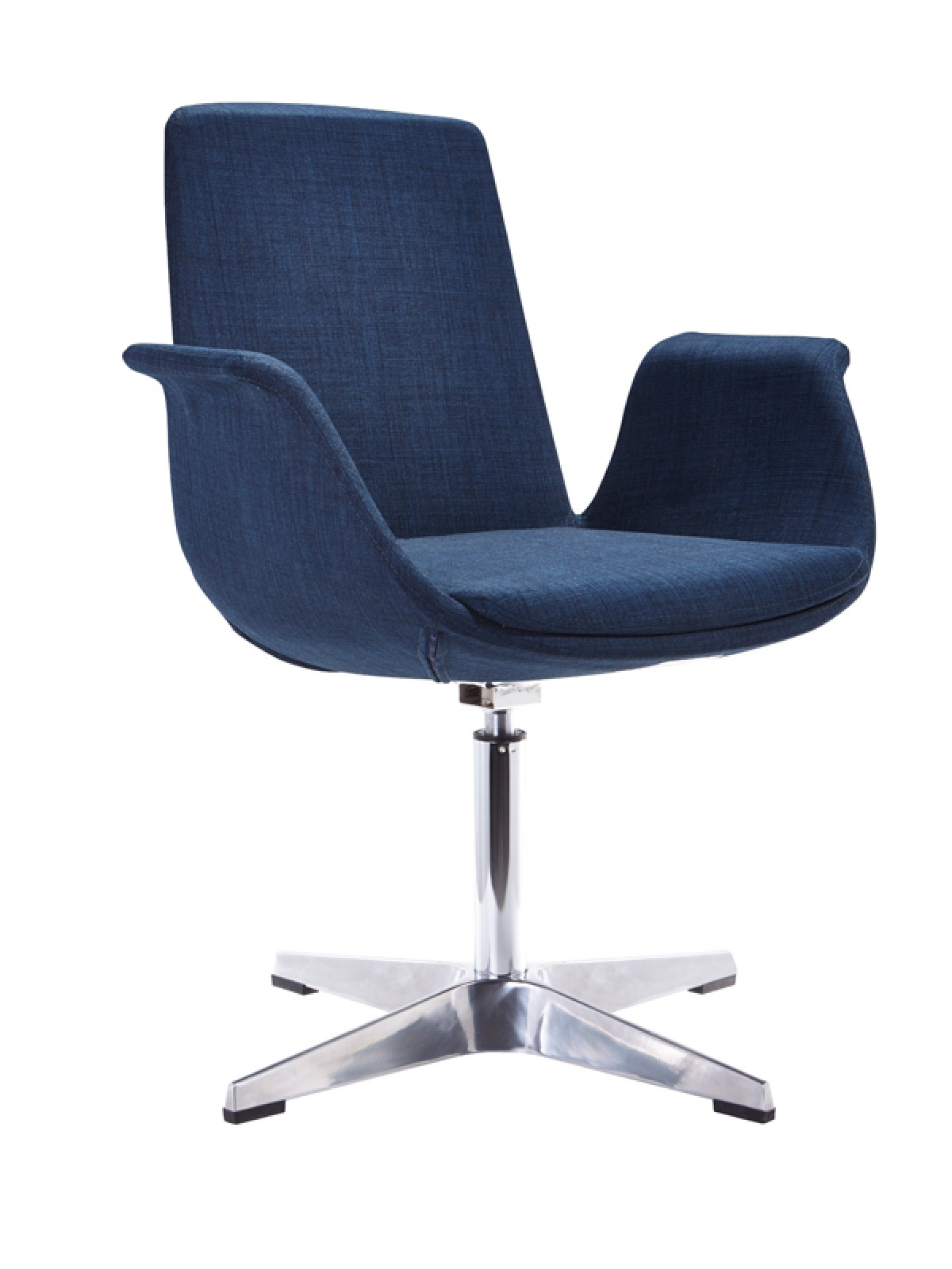 Modern blue fabric aluminum base accent chair phoenix for Blue leather chaise lounge