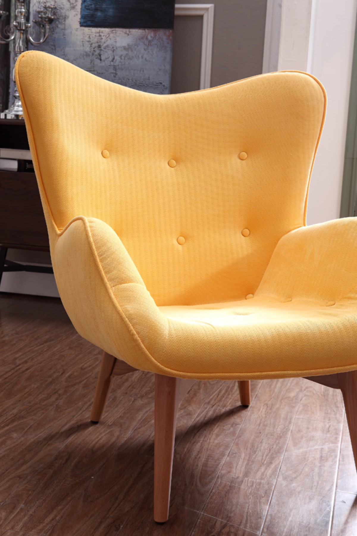 Cozy Yellow Fabric Chair With Ottoman Cleveland Ohio Vig
