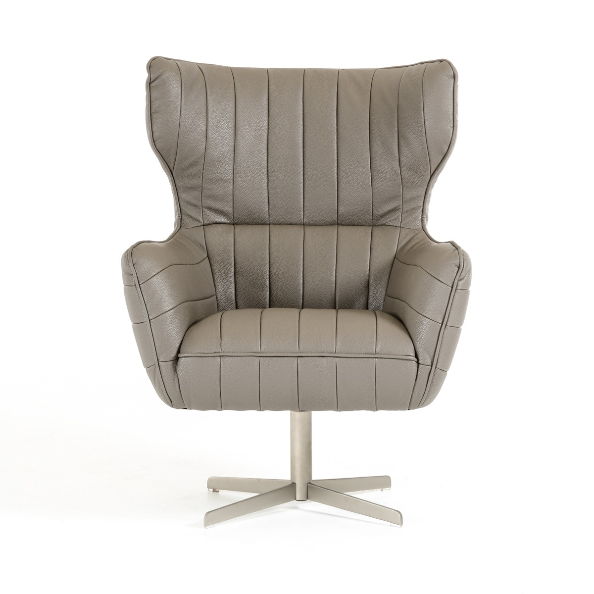Grey Leather Swivel Accent Chair with Tufting - Click Image to Close