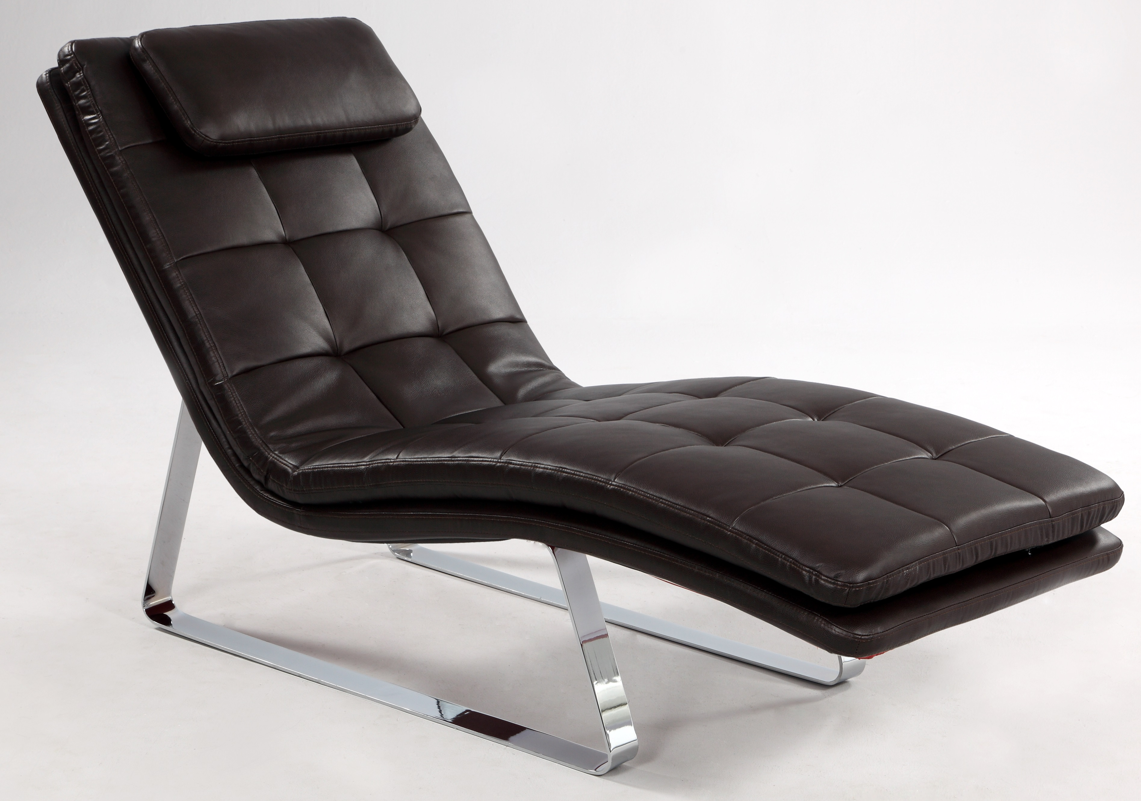 Full bonded leather tufted chaise lounge with chrome legs for Chaise for sale