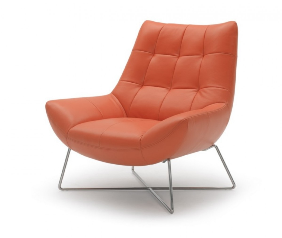 Modern orange leather and stainless steel lounge chair for Chaise longue orange