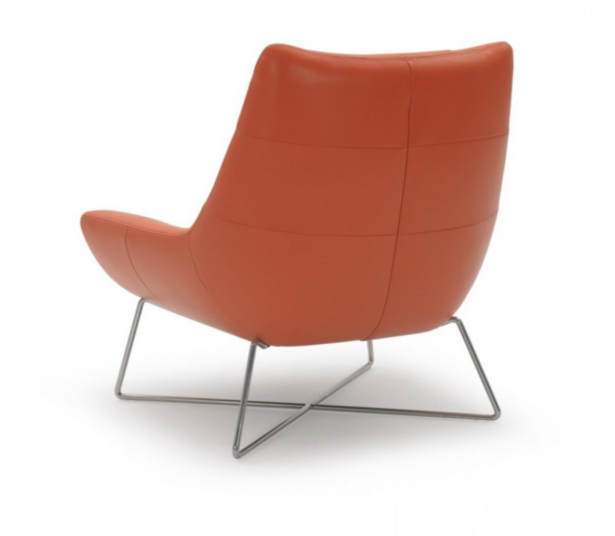 Modern Orange Leather and Stainless Steel Lounge Chair - Click Image to Close