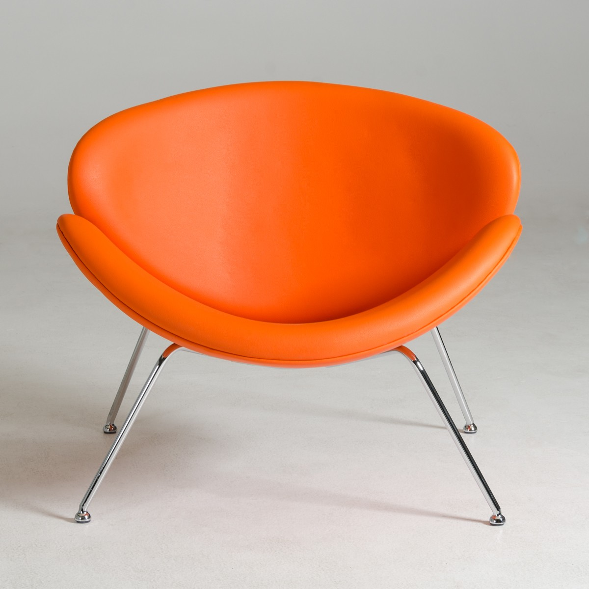 Contemporary Orange Leatherette Stainless Steel Legs Chair ...