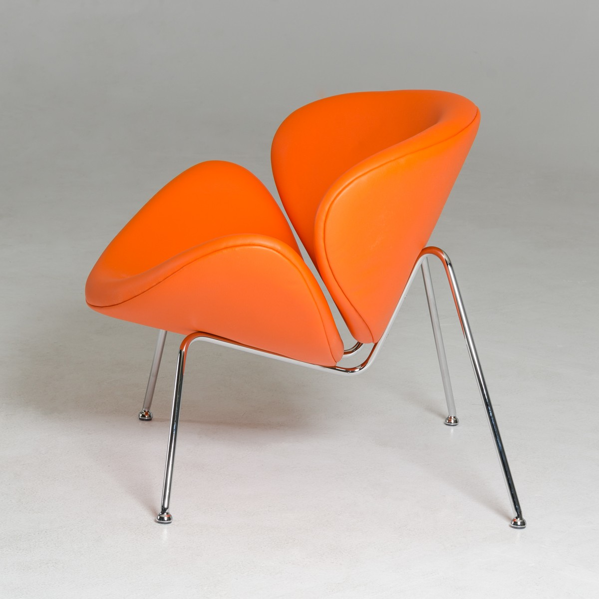 Contemporary Orange Leatherette Stainless Steel Legs Chair - Click Image to Close