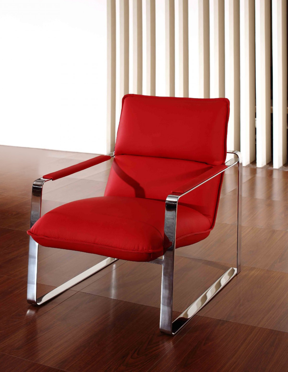 Modern Red Leather Lounge Chair With Steel Frame Oklahoma Oklahoma VIG Dunn Red