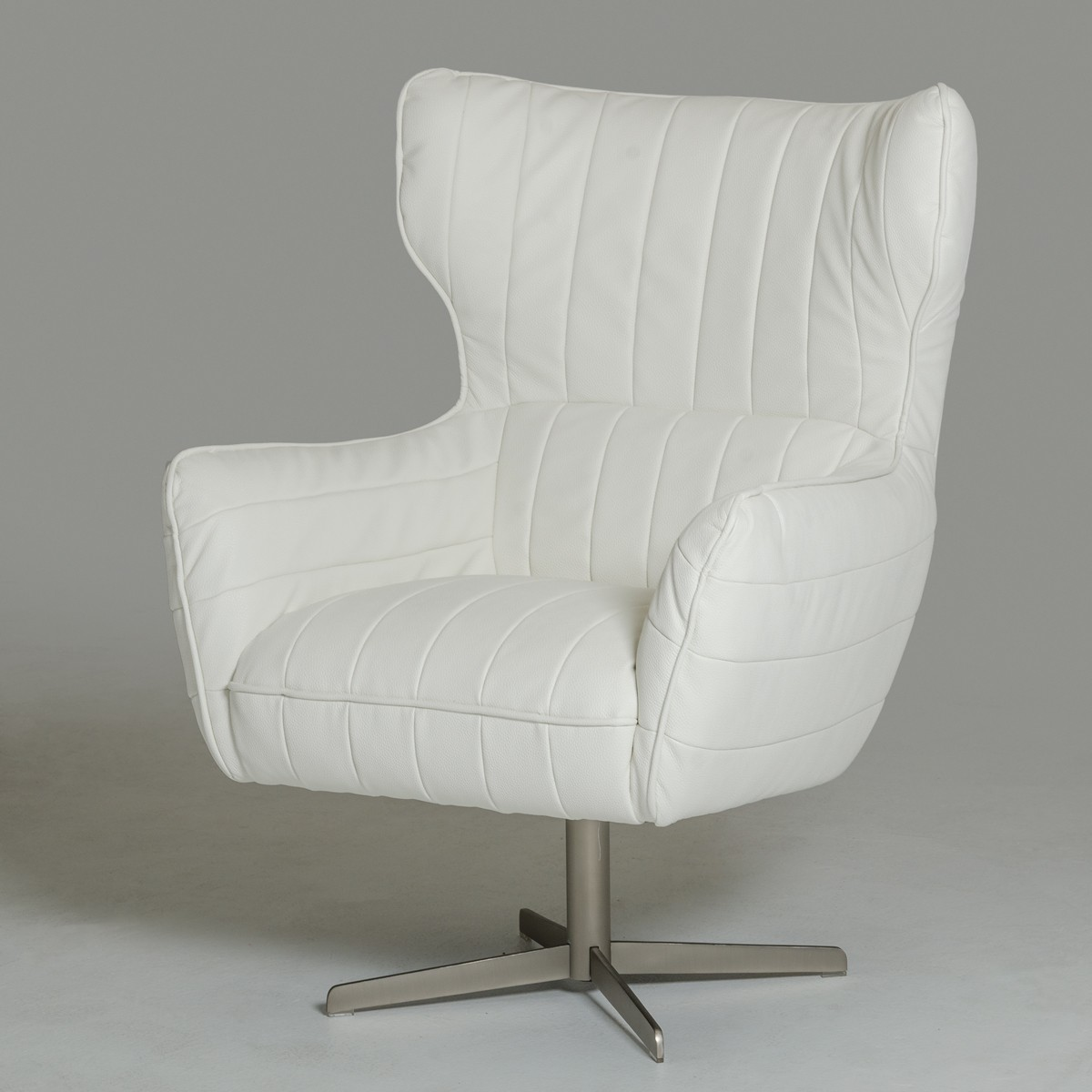 White Leather Swivel Accent Chair Charlotte North Carolina VIG Casa Kylie White