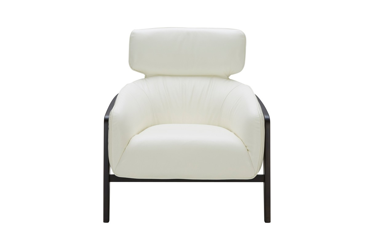 Modern White Leather Accent Chair With Dark Wood Legs Larger Image