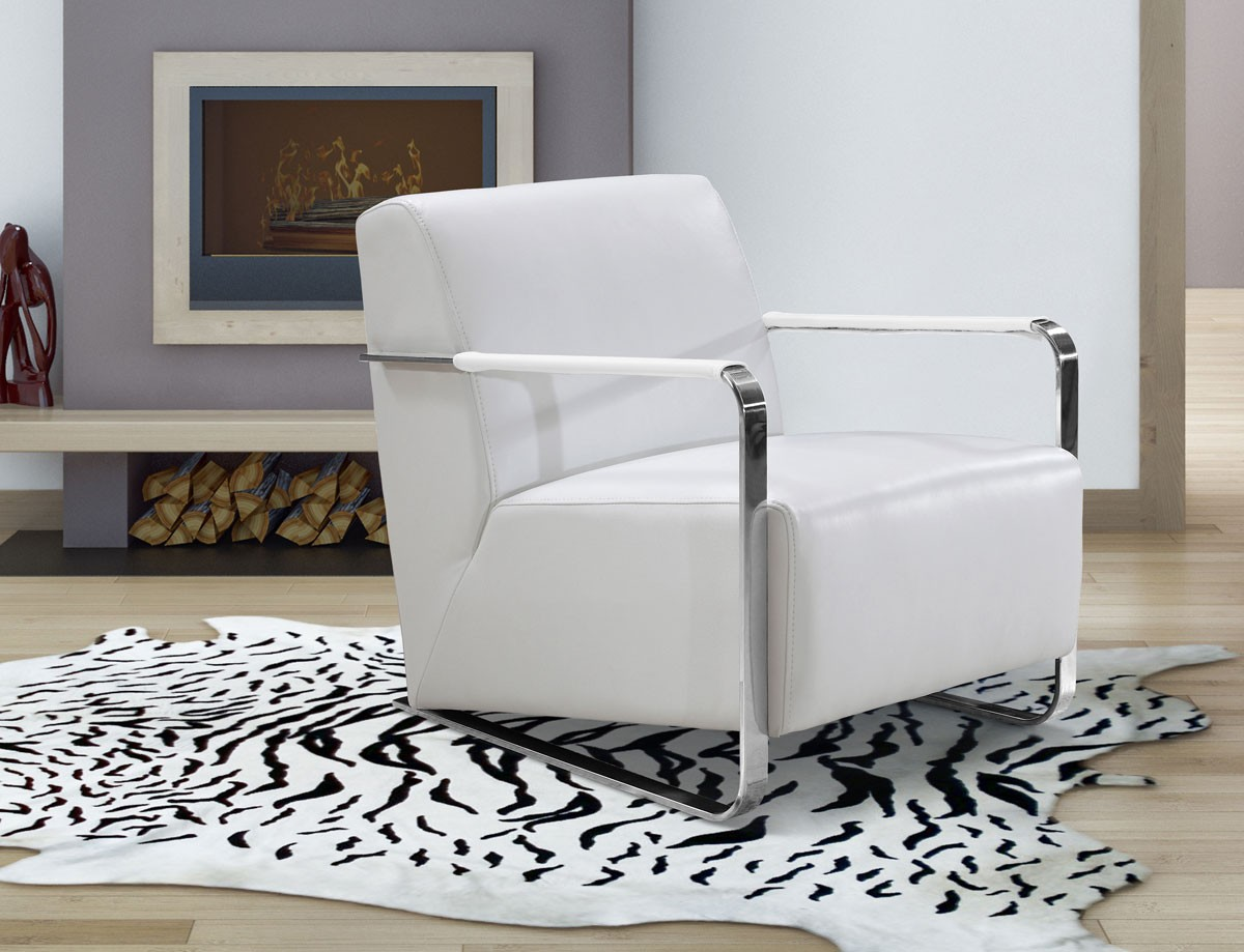 Modern white leather low profile lounge chair sacramento - Divani design low cost ...