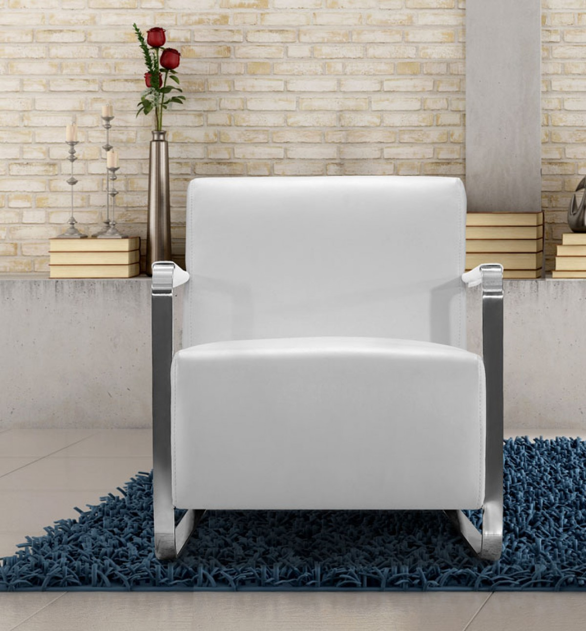 Modern White Leather Low Profile Lounge Chair - Click Image to Close