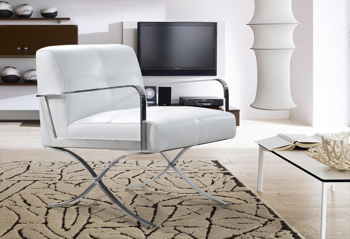 Modern White Leather Stainless Steel X Legs Chair Tucson Arizona VIG Divani C
