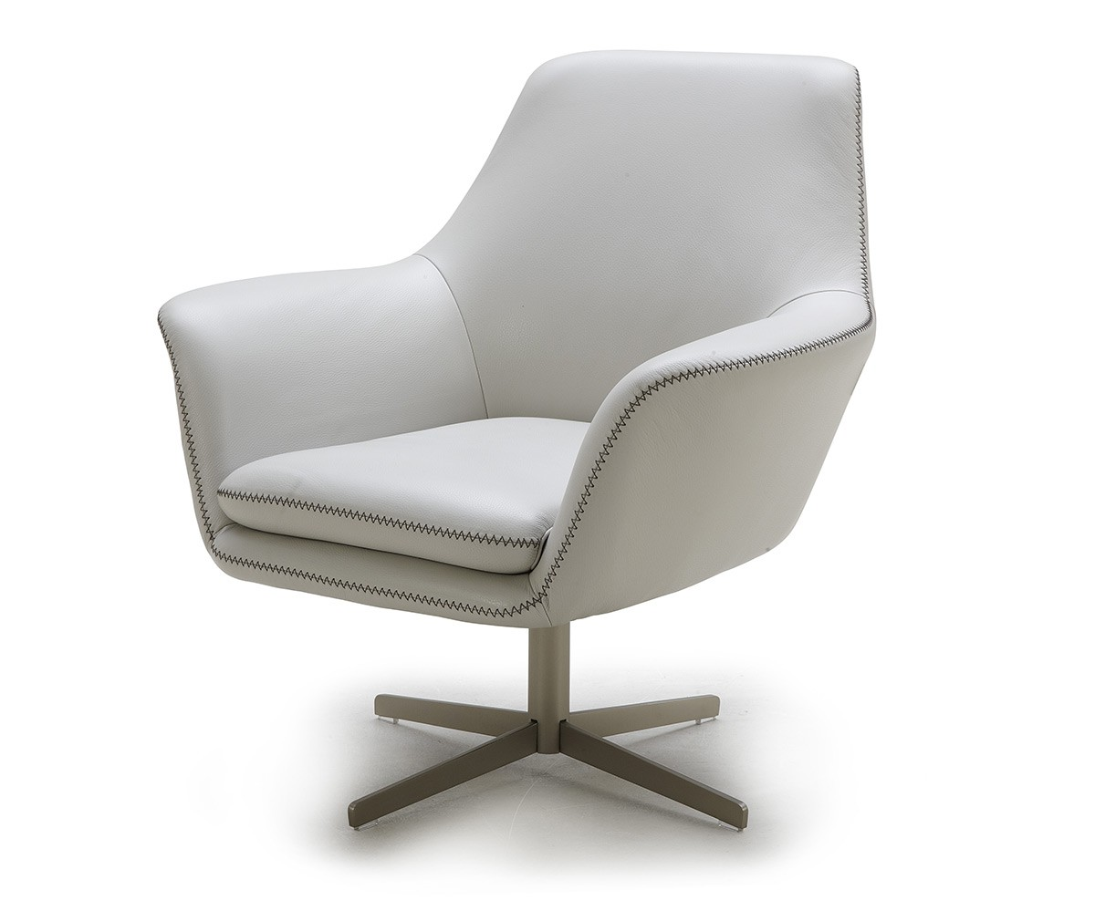 Modern white leather swivel lounge chair fort worth texas for Modern leather club chair