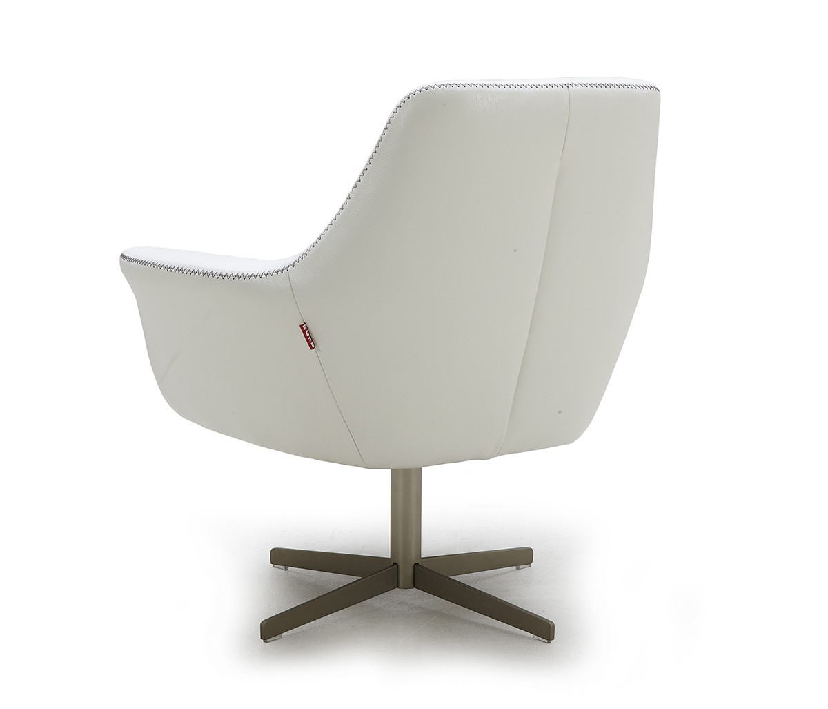 Modern White Leather Swivel Lounge Chair - Click Image to Close