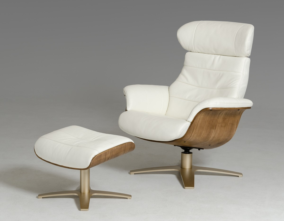 Lounge Chaises And Daybeds Stylish Accessories Modern White Leather Walnut Veneer Frame Chair With Ottoman
