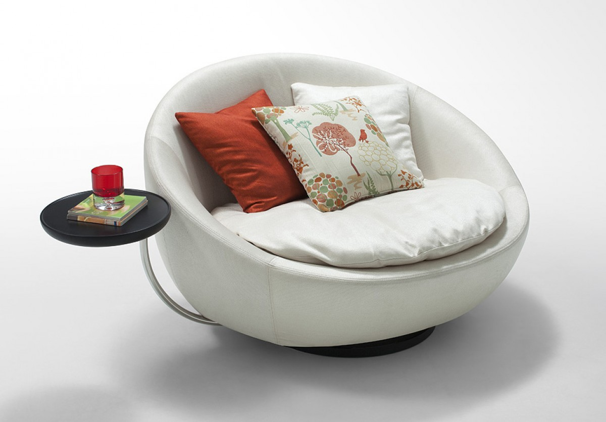 Lounge Chaises And Daybeds Stylish Accessories Modern Swivel Round White Leatherette Chair
